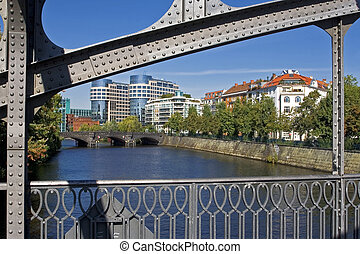 The Helgolaender Ufer in Berlin - The spree and the...