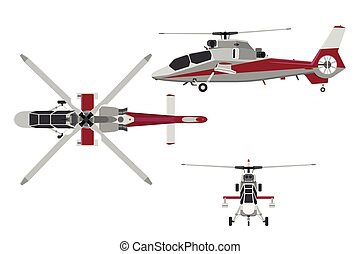 The helicopter in three views: top view, side, front. Realistic image of helicopter on  white background
