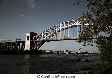 The Hell Gate Bridge and tree in dark vintage style, New York