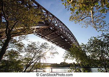 The Hell Gate Bridge and Triborough bridge behind trees, Astoria park, New York