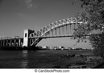 The Hell Gate Bridge behind the branches in black and white style, New York