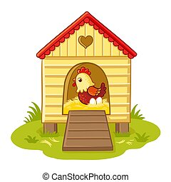 The hen sits in the henhouse.