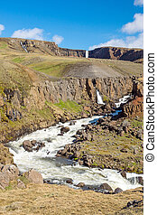 The Hengifoss waterfall in Iceland