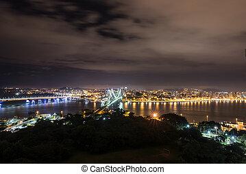 The Hercilio Luz Bridge at night in Florianopolis, Santa Catarina - Brazil.