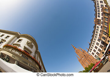 the Hessischer Landtag under blue sky