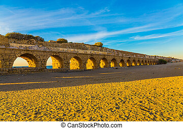 """The """"high"""" aqueduct - The sandy beach is trampled by..."""