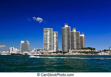 The high-rise buildings in Miami Beach Florida