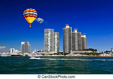 The high-rise buildings in Miami Beach Florida