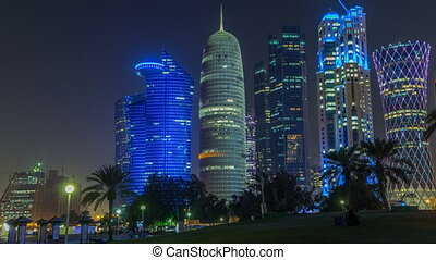 The high-rise district of Doha night timelapse, seen from...