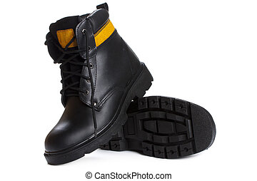 The high work black leather boots on white background