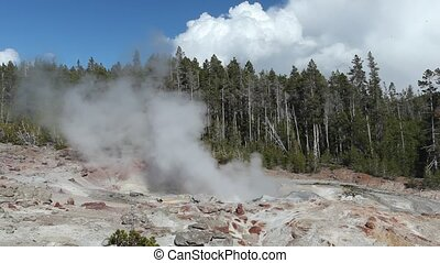 The highest geyser in Yellowstone - Steamboat Geyser in...