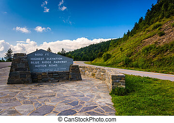 The highest point on the Blue Ridge Parkway, in North Carolina.