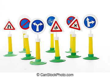 The Highway Code, road safety and vehicle rules driving law road sign toys. Road signs.