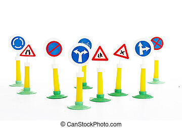 The Highway Code, road safety and vehicle rules driving law road sign toys. Signs.