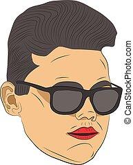 hipster head vector drawing illustration