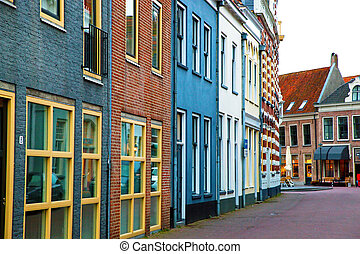 The historic architecture in a small village in Holland, Netherlands