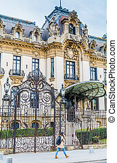 The historic building of George Enescu Museum entrance in Bucharest Romania
