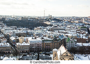 the historic center of the city of Lviv, top view