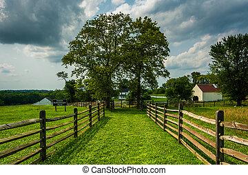 The historic Joseph Poffenberger Farm at Antietam National Battlefield, Maryland.