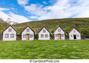 The historic Laufas farm near Akureyri in northern Iceland