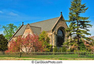 The historic Norman Chapel at Spring Grove Cemetery, Cincinnati