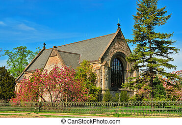 The historic Norman Chapel at Spring Grove Cemetery,...