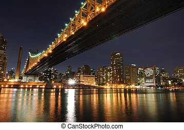 The historic Queensboro Bridge connecting the buroughs of Manhattan and Queens in New York City.
