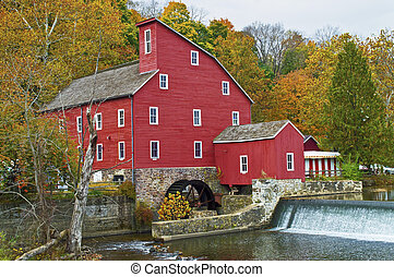 The historic Red Mill in Clinton Township in New Jersey.