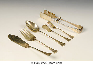 The historic silver decorate cutlery.