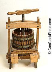 The historic wooden wine press.