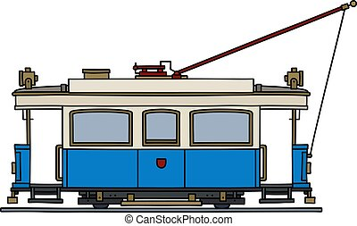 The historical blue tramway - The vectorized hand drawing of...