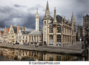 Ghent, Belgium - The historical city core of Ghent, Belgium...