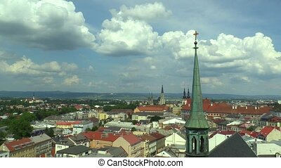 The historical city of Olomouc, view panorama aerial from...