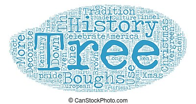 The History of Christmas Trees text background wordcloud concept