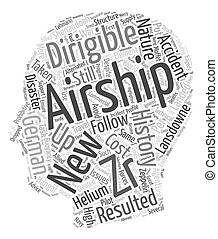 The history of Great Airships text background wordcloud...