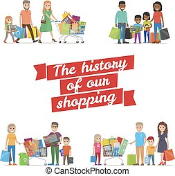 The History of our Family Shopping Vector Poster