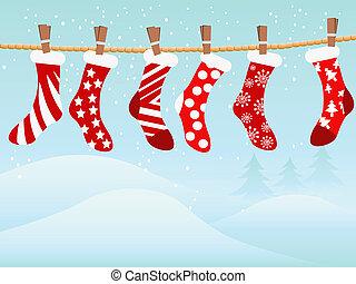 Christmas retro stockings in snowing