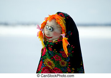 The holiday of the people's Orthodox with pagan roots, Stuffed pancake week, Maslenitsa Doll, region Arhangelsk, Russia