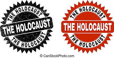 Black rosette THE HOLOCAUST watermark. Flat vector scratched watermark with THE HOLOCAUST title inside sharp rosette, and original clean source. Watermark with distress style.