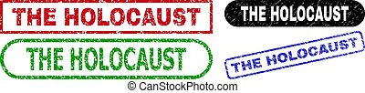 THE HOLOCAUST grunge seal stamps. Flat vector grunge seal stamps with THE HOLOCAUST message inside different rectangle and rounded shapes, in blue, red, green, black color versions.