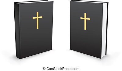 The holy bible standing in two perspectives on the white background