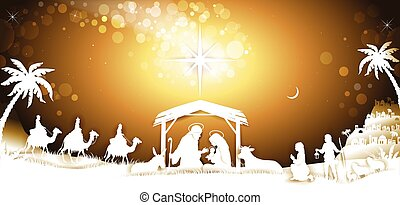 The Holy Family With King Wise Men on Golden Sky Banner