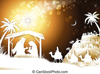 The Holy Family With King Wise Men on Golden Sky