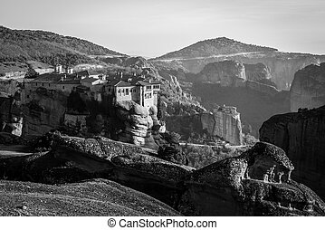 The Holy Monastery of Varlaam, Greece in black and white