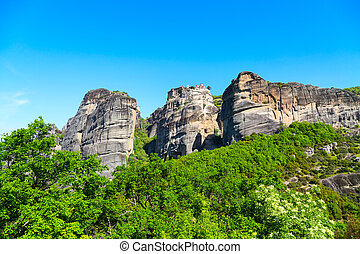 The Holy Monastery of Varlaam on cliff at Meteora rocks, Greece