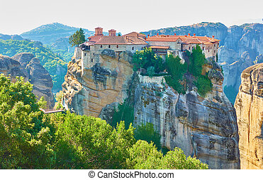 The Holy Monastery of Varlaam on the top of rock in Meteora ...