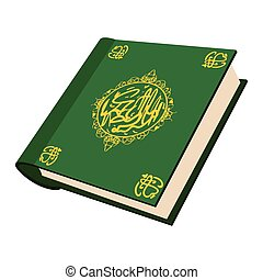 The holy Quran cartoon icon on a white background