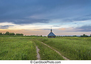 The holy spring of St. Sergius of Radonezh on a quiet summer...