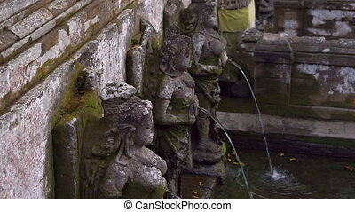 the holy springs at the area of the Elephant Cave, Goa Gajah...