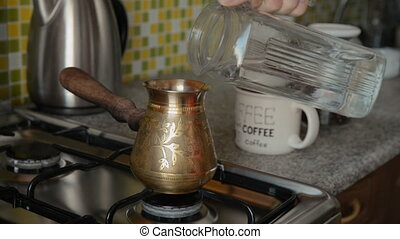 The home coffee in stove.